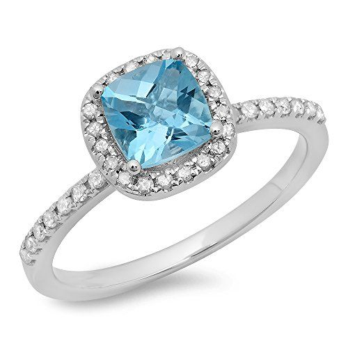 10K White Gold Cushion Cut Blue Topaz  Round Cut White Diamond Halo Engagement Ring Size 7 >>> Learn more by visiting the image link.