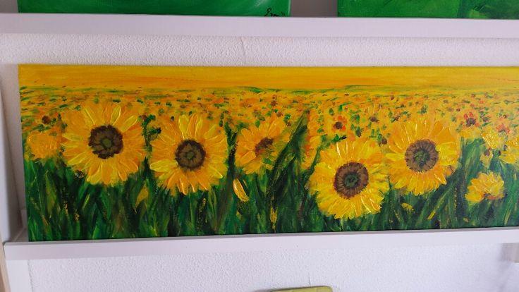 Zonnebloemen - acryl op doek door Erna Feijge