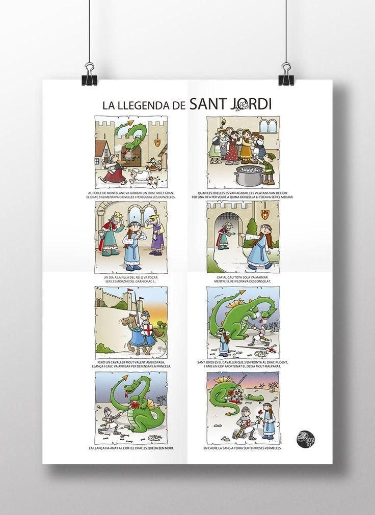 [cat] El 23 d'abril és la diada de Sant Jordi, patró de Catalunya.La història explica que fa molt, molt temps…. Us deixo l'Auca de la llegenda de Sant Jordi que vaig il·lustrar i…