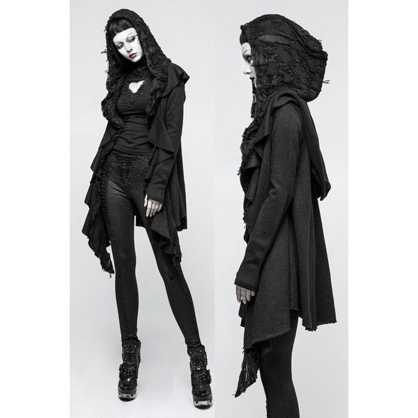 Witchcraft Black Gothic Hooded Cardigan by Punk Rave ($125) ❤ liked on Polyvore featuring tops, cardigans, cardigan top, punk tops and punk cardigan