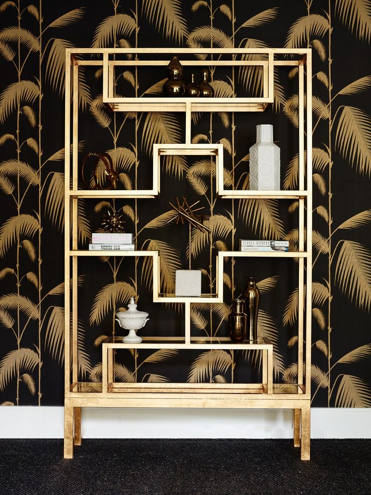 Greg Natale Etagere Gold Display cabinet. Hollywood regency and Art Deco influences.
