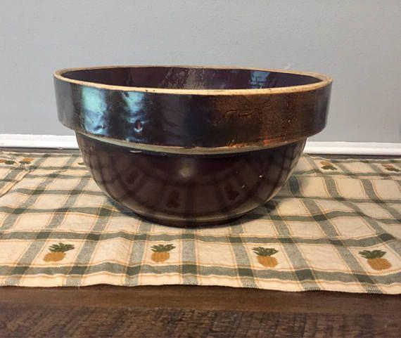 Large Antique Brown Stoneware Bowl Circa 1910 Earthenware