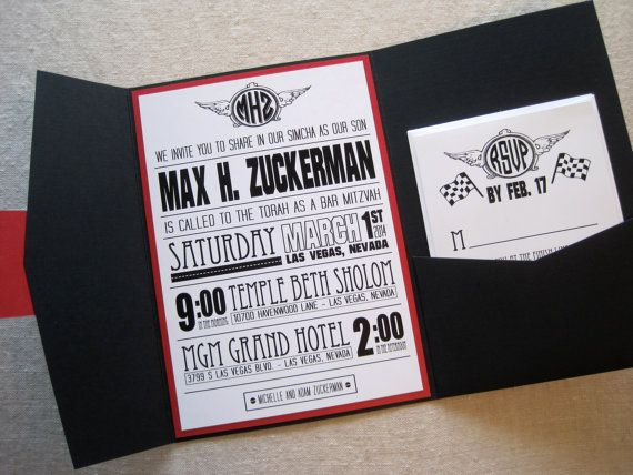 Car Bar Mitzvah Invitation by theoriginalpear on Etsy, $5.50