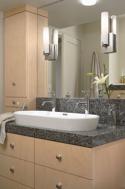 One large sink, two faucets (when there's little room for two separate sinks)