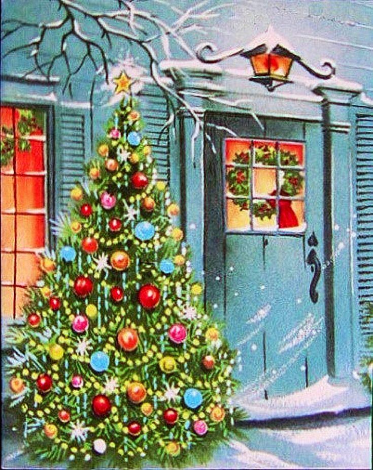 Holiday house -- Vintage Christmas home, Christmas tree, snow, winter, mid century modern.