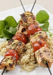 Grilled Rosemary Salmon Skewers!!  eatingwell.com