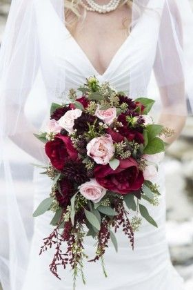 Cascading Dark Red Fall Wedding Bouquet, love the idea, not roses as the primary