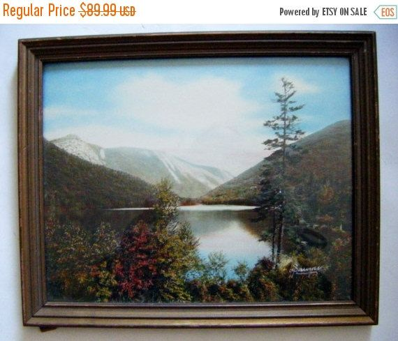 Antique Charles Sawyer Hand Colored Photo Echo Lake New Hampshire In Original Frame. This is a beautiful late summer-early fall scene of…