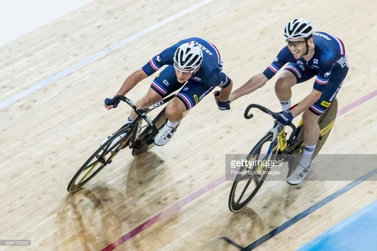#TWC2017 Morgan Kneisky and Benjamin Thomas of France compete in the Men's Madison 50 km Final during 2017 UCI World Cycling on April 16, 2017 in Hong Kong, Hong Kong.