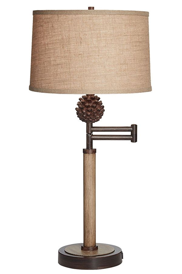 Brancher Rustic Pine Cone Table Lamp With Extending Arm And Usb Port Lamp Table Lamp Rustic