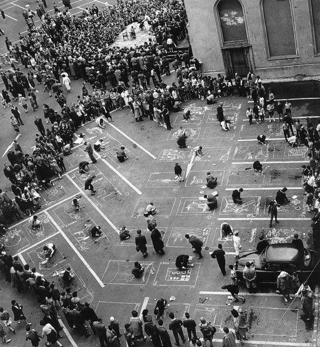 Bojár Sándor: Utcai rajzverseny Budapesten (1962)  Street drawing competition in Budapest 1962