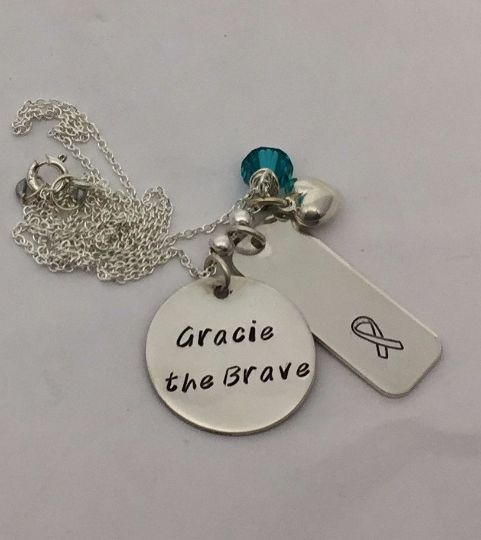 Cancer Survivor Necklace with Name/Cancer Ribbon - Personalized Jewelry - Sterling Silver
