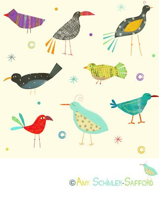 Red Fish Circle: Creatures and Critters Birds on Spoonflower