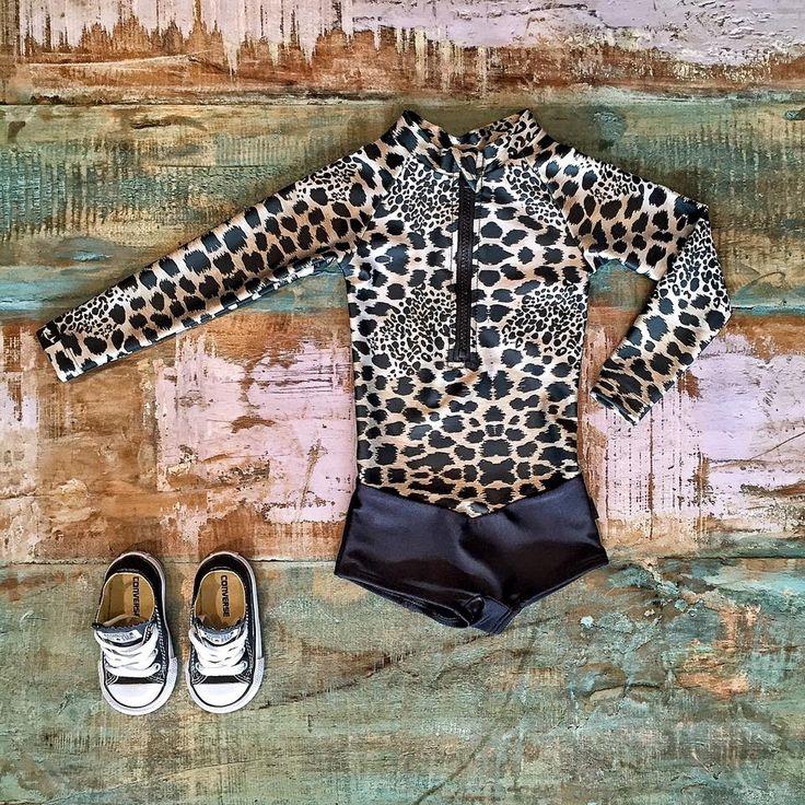 Oceana Blue sea leopard swimsuit & Converse sneakers, shop these in store & online.   www.tinystyle.com.au/Shop-Insta   #swimwear #oceanablueswimwear #kidsfashion #tinystyle
