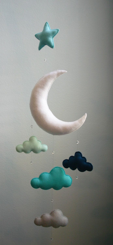 Moderna bebé menta azul marino gris Luna por TheWhiteBirchTree