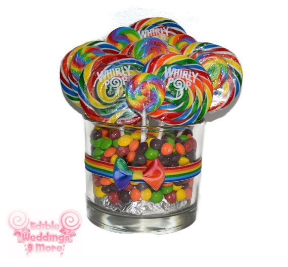 Custom Lollipop Centerpiece Clear Rainbow by EdibleWeddings