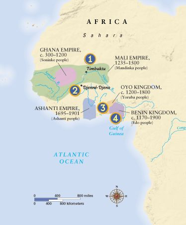 West African Empires Map | Directions: Move your mouse over the numbers on the map to learn more.
