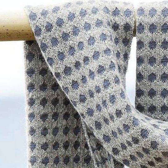 A close up of our knitted Keypad Scarf in Col. stardust. 50%Alpaca 50%Merino Wool | McKernan Woollen Mills | Handmade scarves | Made in Ireland | Irish Design | Women's Accessories | Weaving | Knitting
