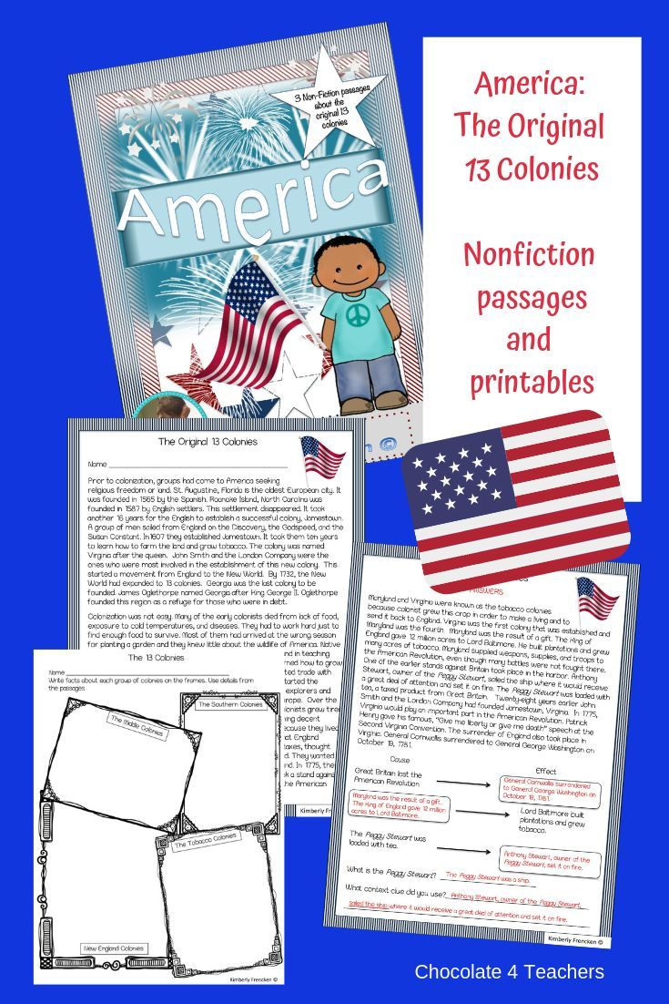 America Non Fiction Reading Skills Learning About The Original 13 Colonies Reading Skills Cross Curricular Lessons Substitute Lessons [ 1102 x 735 Pixel ]
