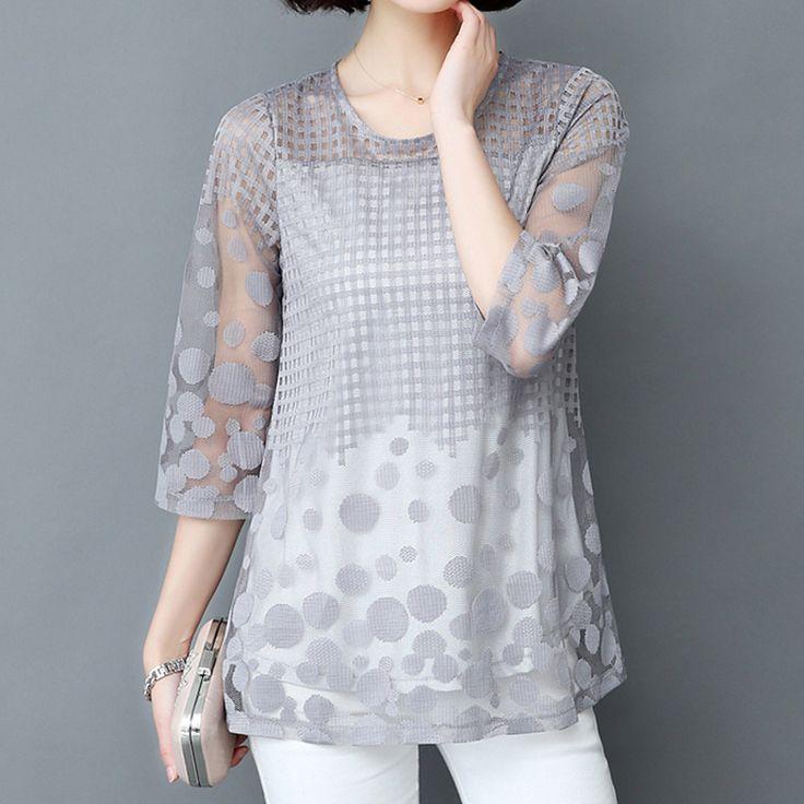 2017 Summer Yarn T-shirt Women Tee Tops Plus Size 5XL O-neck Long T-shirt Chiffon Women's Clothing Loose 3/4 Sleeve T-shirt