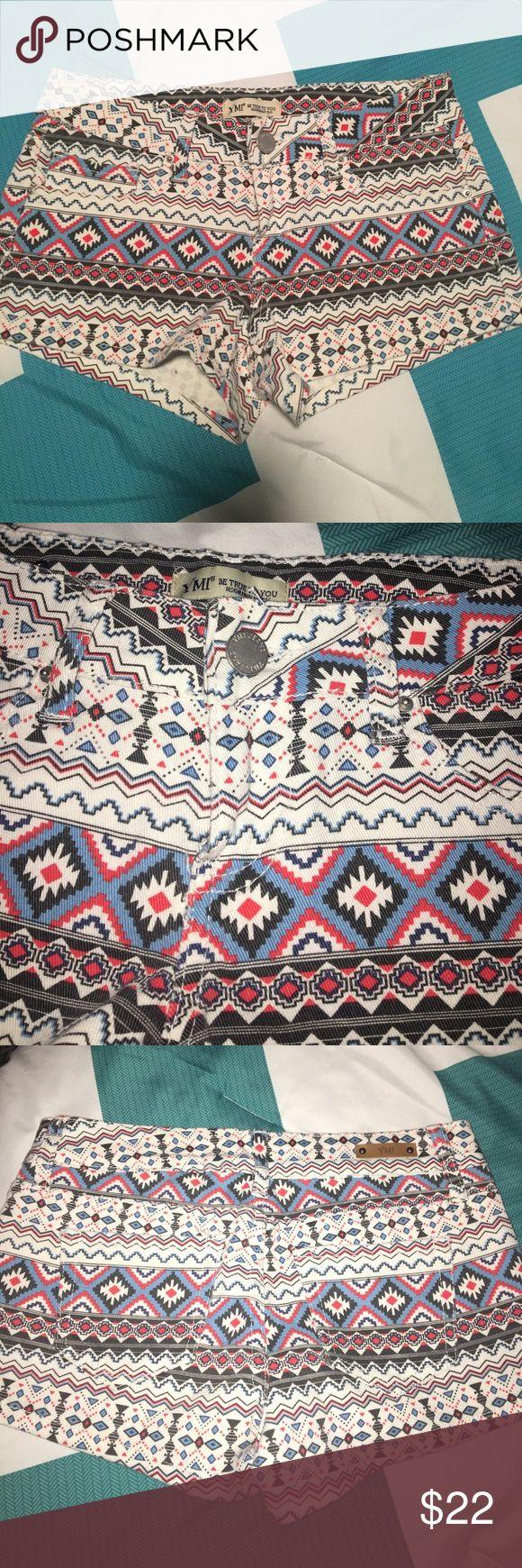 "New! Aztec print shorts! Adorable off white shorts with red, blue & black print. Perfect condition!!!! 2"" inseam. Sz 3 juniors. Stretchy material! YMI Shorts Jean Shorts"