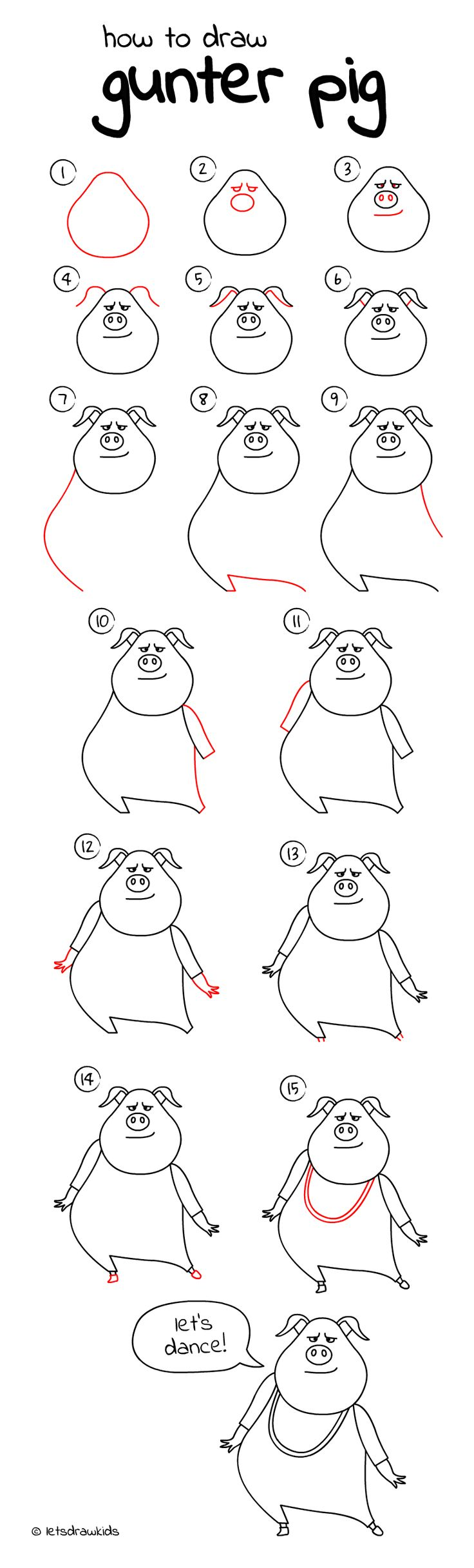 How to draw Gunter. Easy drawing, step by step, perfect for kids! Let's draw kids. http://letsdrawkids.com/