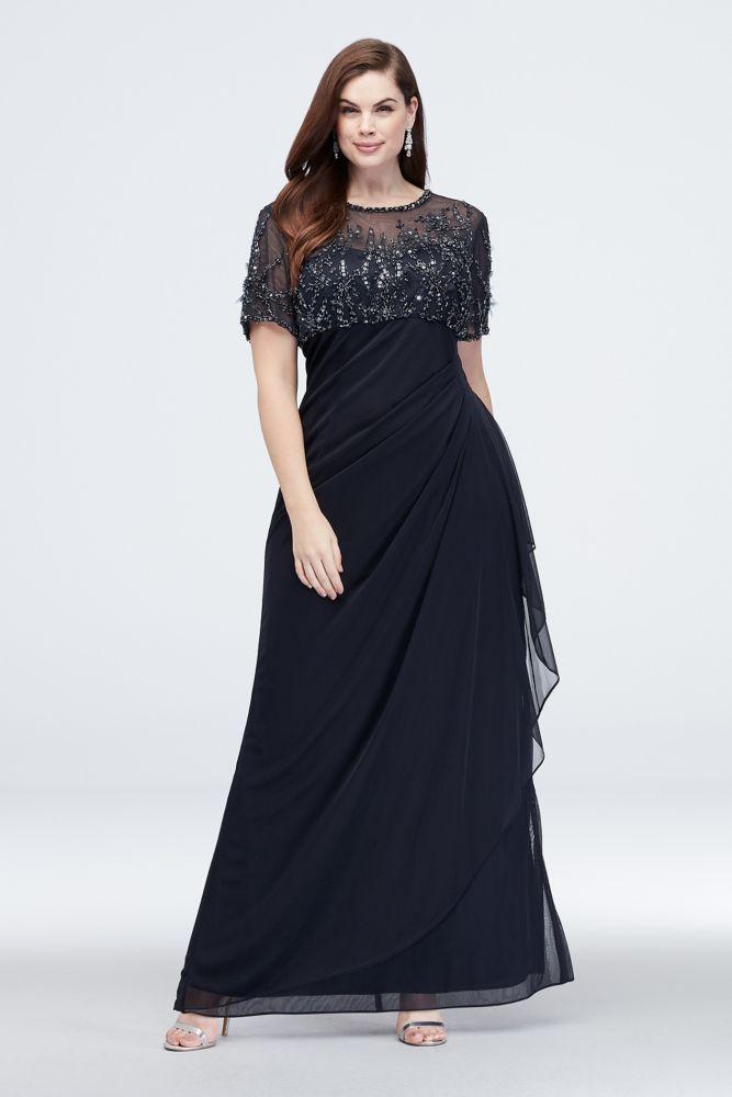 Beaded Illusion Short Sleeve Plus Size Sheath Gown Style 1050XW, Navy, 20W