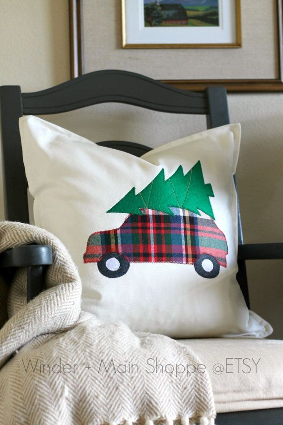 Bringing Home the Tree applique pillow by WinderandMainShoppe Christmas pillow decor & 25+ unique Christmas pillow ideas on Pinterest | Christmas pillow ... pillowsntoast.com