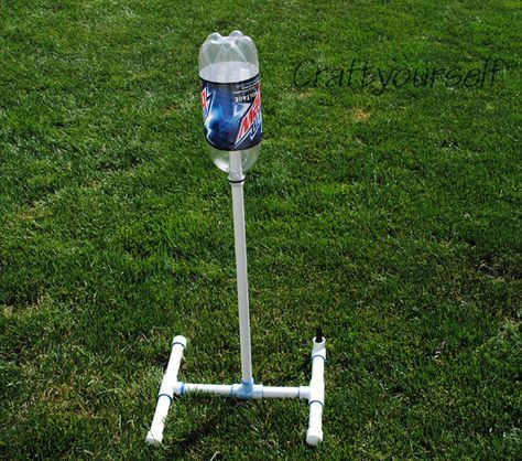 Bottle rocket launcher from PVC pipe and 2 liter bottle.  Fun idea for the kids!