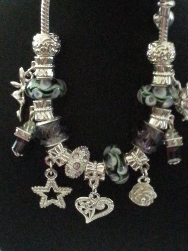 "'""Pretty Petals"" Silver Plated Euro Bracelet  w/Murano ' is going up for auction…"