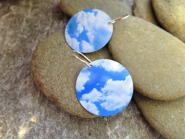 RESERVED LISTING FOR JULIE S, CLOUDS SUBLIMATION EARRINGS