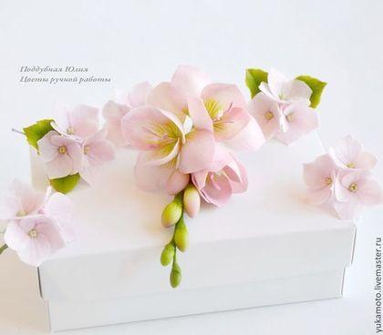 """Комплект """"Розовый крем"""" - фрезия,свадебные украшения,шпильки свадебные:"""