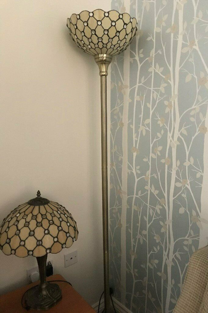 Genuine Matching Jewel Tiffany Lamps In Excellent Condition The