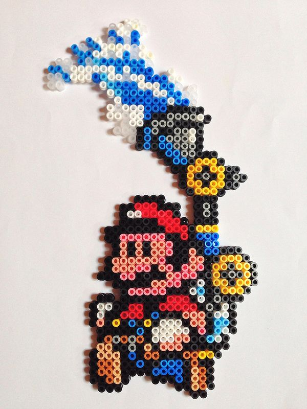Mario and J.E.T. ( from Mario Sunshine) perler beads by Nathan Tardy