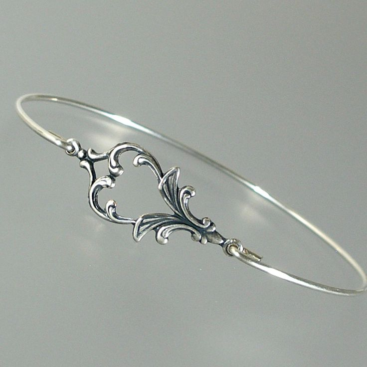Art Nouveau Silver Bangle Bracelet, Stacking Bangle Bracelet, Bridesmaid Gift Idea, Bridesmaid Jewelry, Wedding Party, Bridal Party (145S,) by LilyAndLouise on Etsy https://www.etsy.com/listing/153416746/art-nouveau-silver-bangle-bracelet