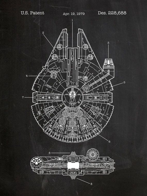 Star Wars Millennium Falcon Screen Print - Millenium blueprint design patent poster, movie poster art, Jedi Force, Han Solo