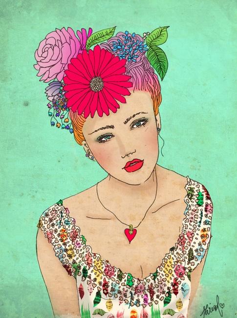Girl in flowers. Chica en flores. Si te interesa la ilustración podes escribirme a sol.dlvega@gmail.com. If you like the illustration, please send me an email sol.dlvega@gmail.com
