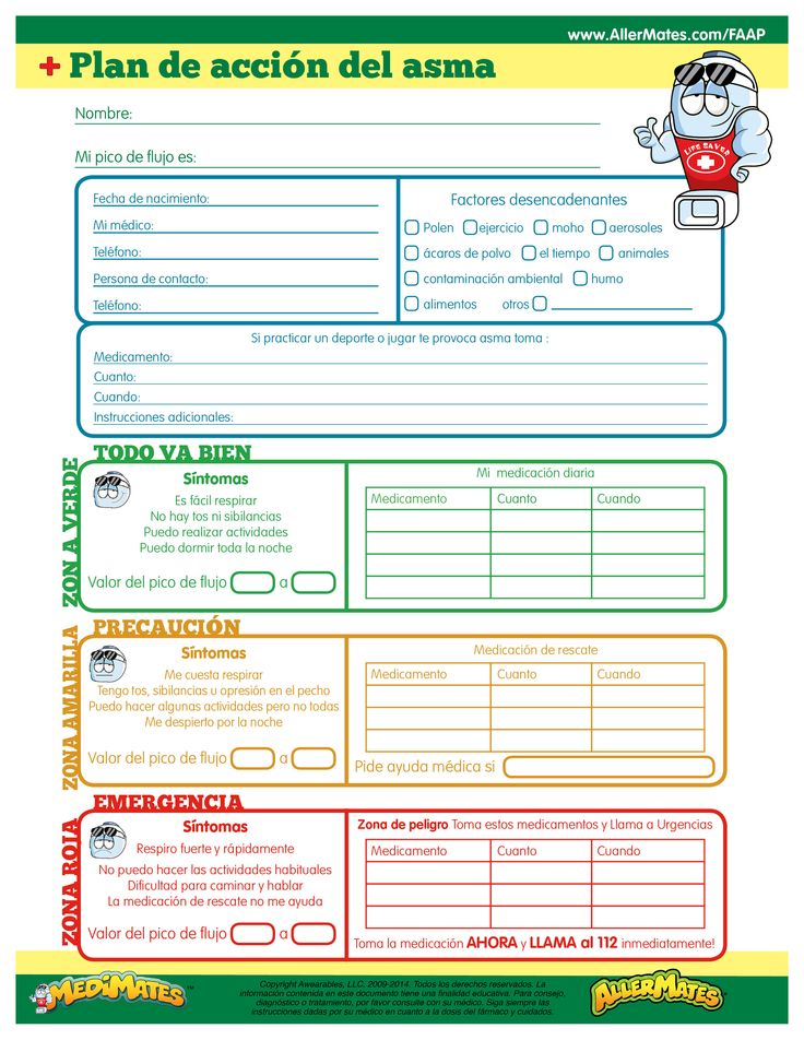 Asthma Action Plan Spanish  School Nursing Asthma And Kids