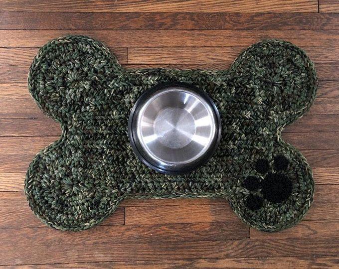 Crochet Pattern Dog Bone Placemat Pet Food Bowl Floor Mat Rug Dog Crate Mat Rug Bone Shape Mat Dog Bowls Dog Food Bowls Dog Bones