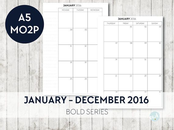A5 Inserts 2016 Simple Bold MONTH on 2 Pages Printable Planner Filofax Kikki K  by OrganiseWithKatie