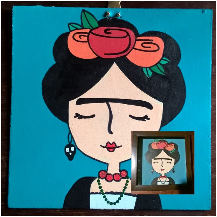 Frida Kahlo❤ (pintado y encuadrado)