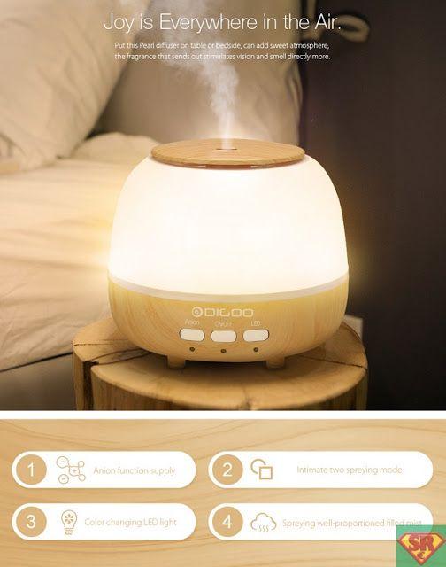 Digoo DG-HM1 Pearl Wood Grain Aroma Diffuser Humidifier Anion Air Purifier Color Changing LED
