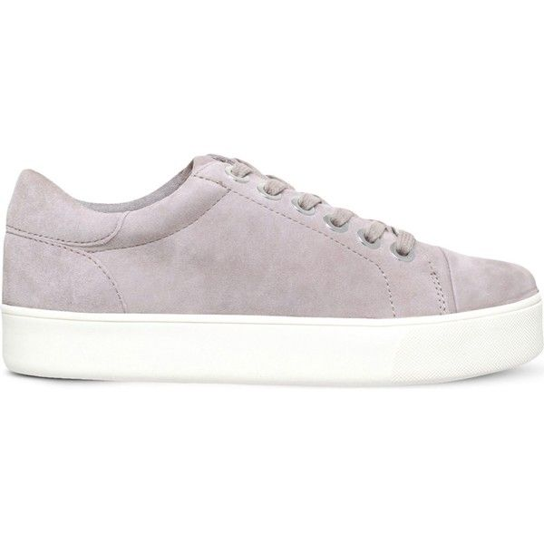 Carvela Loot suede flatform trainers (£105) ❤ liked on Polyvore featuring shoes, sneakers, sports footwear, sport shoes, flatform trainers, flatform shoes and sports shoes