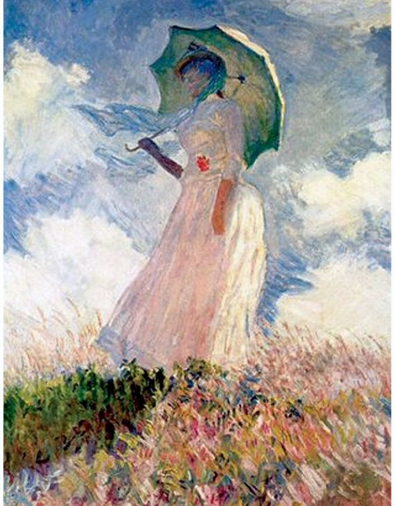 Claude Monet Woman With Parasol 1886 France French Etsy Claude Monet Art Monet Art Famous Art Paintings