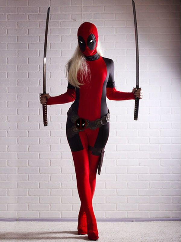 10pcs/lot Cool Lady Deadpool Costume Red full body spandex girl/women Deadpool Costumes Two style deadpool costume wholesale #Affiliate