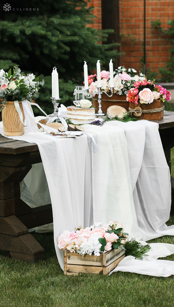 Chiffon Fabric Bolt 58 X 10 Yards White Love Wedding Cake Table Decorations Cake Table Decorations Rustic Cake Tables
