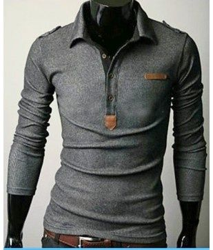 Unique Long Sleeve Polo - long sleeve cotton shirt with leather detail. Available in size M in Dark Grey.