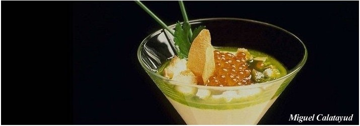 Ajoarriero con huevas de arenque con nuestra variedad Picual. Gracias a Manuel de la Osa- Restaurante Las Rejas.