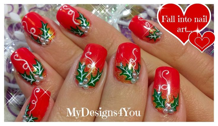 Christmas Nail Art | Red Holly Christmas Nails ♥ Рождественский Дизайн Н...