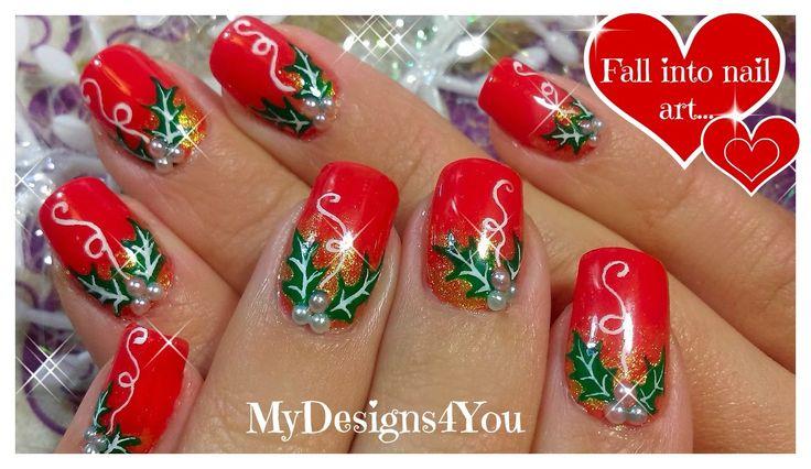 Christmas Nail Art   Red Holly Christmas Nails ♥ Рождественский Дизайн Н...